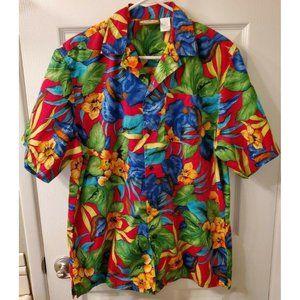 Edwards Mens Medium Hawaiian Button Down Shirt Red